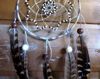 Dream catcher brown tones / pheasant feathers / real 40 cm