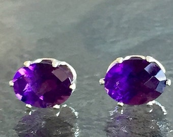 MothersDaySale Amethyst African 8x6mm 3ctw Sterling Silver Studs
