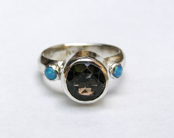 Engagement Ring ,Smokey Quartz Ring, Anniversary ring gift, Gift for mom, Unique ring, Opal ring, Blue opal ring, 925 Silver sterling ring