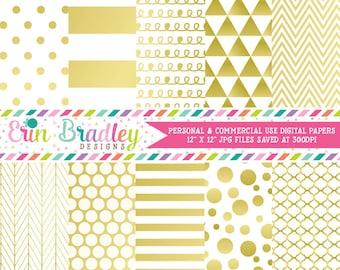 Gold Digital Paper Pack Digital Gold Foil Effect Commercial Use Scrapbook Paper Chevron Polka Dots Stripes Triangles