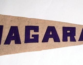 Original 1920s-'30s Era Sewn Letters Felt Pennant for Niagara  -- Free US Shipping!