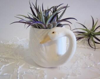 Ceramic Swan mug, succulent planter, bird mug, swan cup, goose cactus planter, vintage porcelain cup