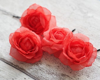 Coral Hair Accessory, Coral Flower Set, Bridal Coral Accessory Flower, Coral Flower Pin, Coral Hair Pin, Flower Bobby Pin