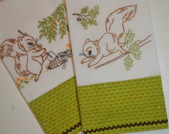 Hand Embroidered Squirrel Tea Towels