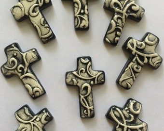 8 Super Cute Black And White Ceramic Crosses That Can Be Used In Mosaic And Other Mixed Media Projects