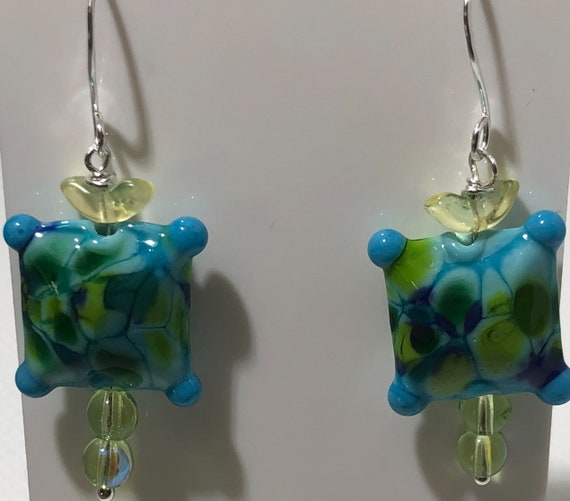 Lampwork Glass Beaded Earrings Pillow Bead Pierced Dangle Blue Green Swirls Sterling Silver Czech Crystal Free Ship Teen  Bo Ho Teacher
