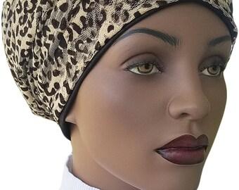 Animal Beige Black Lace Huggee Locs™ Beanie Cap Hat Tam Lined Jersey Knit Slouchy Hat Rasta Rastafari Dreadie Handmade