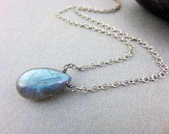 Labradorite Pendant Necklace - Sterling Silver - Blue Gray Pendant - Third Eye Chakra - Healing Crystals Chakra Energy Jewelry