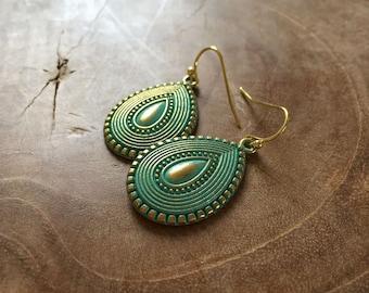 Boho Drop Large - goldtone dangling earrings with goldtone metal teardrop charm with bohemian feel. Teal, gold, turquoise, boho, summer