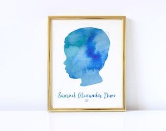 Custom Silhouette, Custom Silhouette Portrait, Mother's Day Gift, Grandparent Gift, Custom Child Silhouette, 8x10 Printable