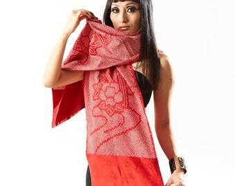Geisha Silk Scarf - Red -  (using Vintage Kimono)