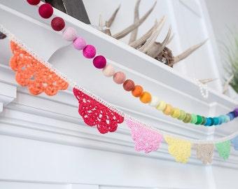 Scallop Doily Garland -Fabic garland -RAINBOW PARTY -Baby Bunting -Rainbow Garland -Nursery Decor - Rainbow Party Decor - Baby Shower