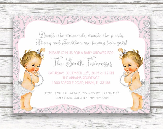 Princess Twin Girl Baby Shower Invitation, Pink and Silver Glitter Twincesses Invitation, Vintage Diamonds and Pearls, Printed or Printable