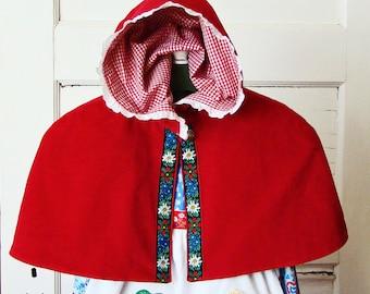 Red VELVET CAPELET Toddler Girls Red Riding Hood Capelet