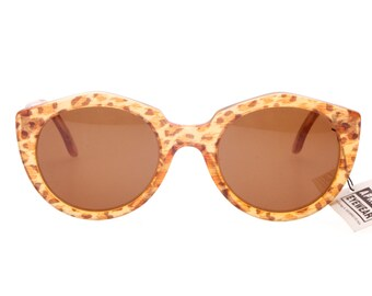 Fiorucci vintage 80s round cateye sunglasses by Aprilia amber animalier and yellow/orange pearl colors, handmade in italy 1980s deadstock