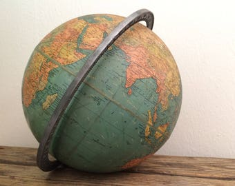 Old WWII Era 12 in. Globe Heavy Metal Meridian