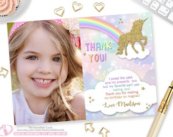 Unicorn Thank you card, Unicorn Thank You Card, Rainbow Thank you card, Unicorn, Rainbow, Gold Glitter, Printable, DIY