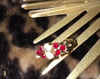 Vintage Crystal Adjustable Ring