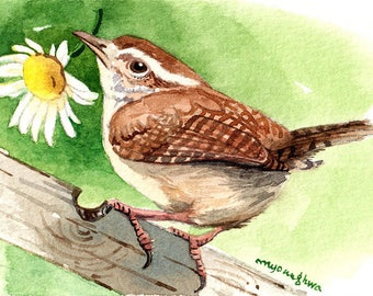 ACEO Limited edition 2/25- Scent of daisy, Wren, Gift for bird lovers, Bird art, Miniature painting, Gift for her