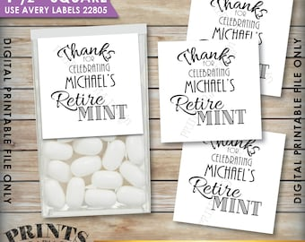 """Retirement Party Tic Tac Labels, Custom Retire MINT Stickers, Mints, PRINTABLE 1.5"""" Square Tic Tacs Labels, Print As Many Labels As You Need"""