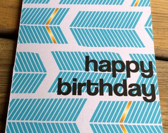 Happy Birthday card; blue feather gold card; birthday card; instant printable birthday card; two sizes; perfect birthday card
