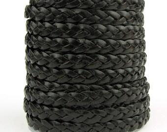 Black Flat Braided Leather Cord 5mm 1 Yard