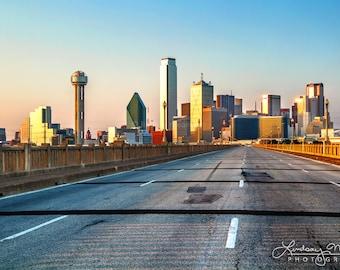"""Dallas Skyline Print   """"Road to Dallas""""   Dallas Wall Art - Dallas Photo - Dallas Home Decor - Dallas Skyline Photo - Dallas 11x14 Photo"""