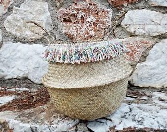 Olivia Fringe Seagrass Basket • Colorful Fringe Lace • Belly Basket • Seagrass Beach Bags • Decoration Basket •