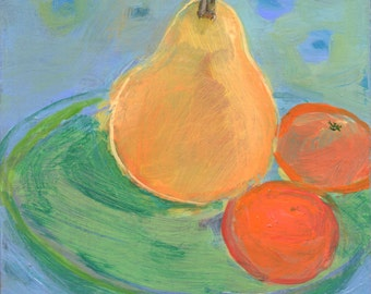 original fine art small painting on panel Pear and Two Clementines - art by Irene Stapleford, wantknot shop