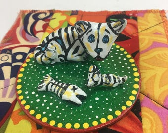Day of the Dead Cat and Kitten Sculpture