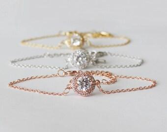Bridesmaids bracelet, Cubic Zirconia bracelet, Bridesmaids gifts, Bridal party jewelry, Wedding gold bracelet, Rose gold crystal bracelet