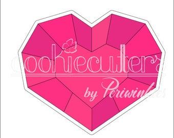 Gem Heart Cookie Cutter - Heart Gemstone - Valentines - Wedding -Periwinkles