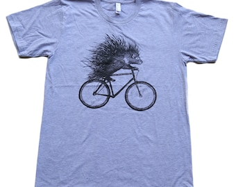 Porcupine on a Bicycle - Mens T Shirt, Unisex Tee, Cotton Tee, Handmade graphic tee, Bicycle shirt, Bike Tee, sizes xs-xxl