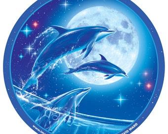 """Dolphins under Full Moon 4"""" round sticker by Michael David Ward Imaginarium Works"""