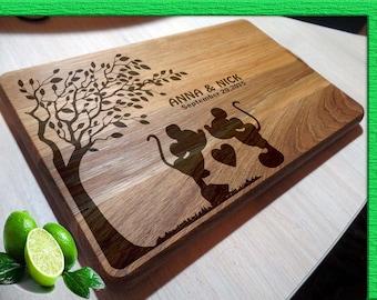 DISNEY WEDDING cutting board, Wedding Disney Wedding Gift Cutting Board DISNEY wedding Cutting Boards, Mickey Mouse cutting board  L2-03-001