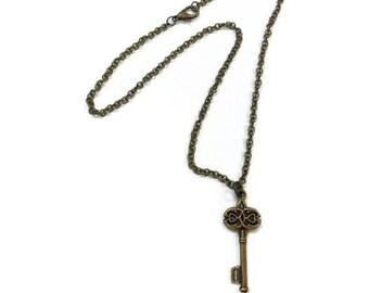 Brass Necklace -  Key Pendant Jewelry - Chain Jewellery - Charm - Fashion - Goth