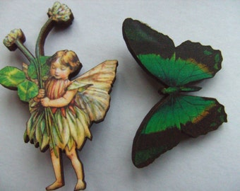 Set of 2, fairy,butterfly, green and pink, wood, brooch, brooches, woodland, fairytale, fairytale brooch,  by NewellsJewels on etsy