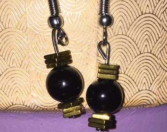 Black Obsidian and Gold Hook Earrings