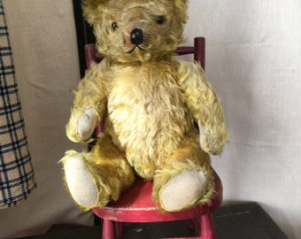 SALE Antique Mohair Teddy Bear, Slight Hump to Back, Long Arms, Glass Eyes, Straw and Kapok Filled, Circa 1920s-1930's