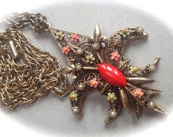 Signed Art Fleur De Lis Enamel Filigree Pendant – 1960s Jewelry