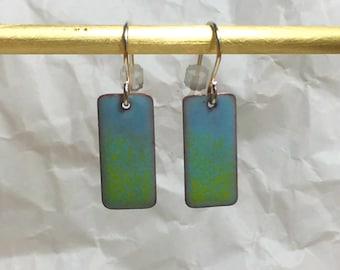 Light blue to green fade rectangle enamel earrings