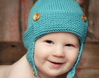 Baby Aviator Hat Knitting Pattern, Baby Hat Pattern for Boys, Instant Download PDF Pattern, Earflap Hat Pattern, - WRIGHT FLYER