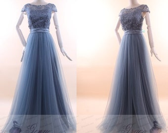 Bridesmaid Dress Dusty Blue Tulle Wedding Dress With Sash,Cap Sleeve A Line Prom Dress,Illusion Neckline Sweetheart Evening Gown Party Dress