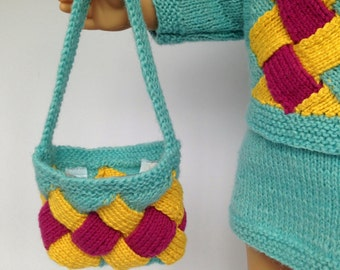 "18 Inch Doll Knitted Purse - American Girl Knitted Accessories. Knitted Doll Accessories for 18"" dolls like Maplelea, American Girl"
