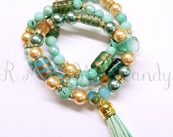 Tassel Bracelet Set, Beaded Bracelet Set, Festival Bracelet, Womens Gifts, Handmade Custom Beaded Jewelry, Stack Bracelet, Festival Jewelry,