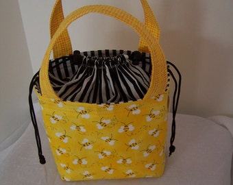 Drawstring lunch bag, cosmetic case, make up case, small purse, drawstring purse