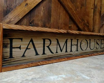 Farmhouse reclaimed wood sign with frame