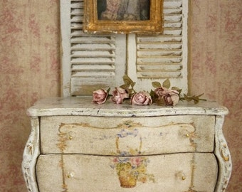 Marie-Antoinette distressed Shabby pale blue,  Chest of drawers - 1'' SCALE - French dollhouse furniture in 1:12th scale