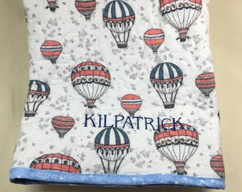 Personalized Baby Quilt Custom Design Your Own Minky and Flannel Quilted Crib Sized Blanket Personalised Embroidered
