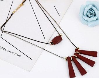 Bohemian coachella multilayer acrylic necklace bijoux collier pendant